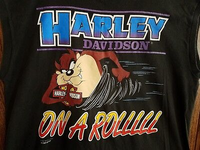 Harley Davidson 1993 TAZ MANIA Looney Tunes MUSCLE Tee T-SHIRT Cotton Mens 2X
