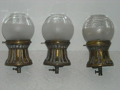3 matching antique brass gas light fixtures w/frosted glass shades.