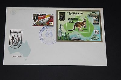 Aust 1986 Stampex  Souvenir Cover Kangaroo M/s And Cockatoo