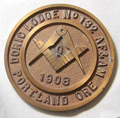 ANTQ 1908 BRASS Mason DORIC LODGE 132 BUILDING PLAQUE SIGN PLATE PORTLAND, OR