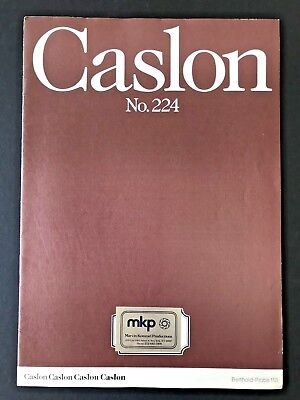 Caslon No. 224, Type Specimen book, Berthold Probe 113, 24 pg with covers, 1980s