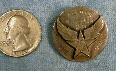 Unique handmade silver sweetheart pin from Army Air Force member Algeria, 1944!