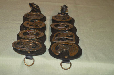 Pair of Vintage Leather Horse Strap With Four Brass Medallions Wall Hanging