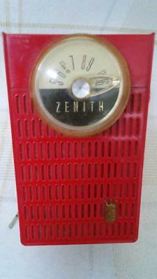 Vintage 1950s Zenith Royal 50 Transistor Radio RED & Cream