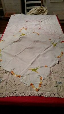 Crochet Embroidered  Table Cloth  X 3 Vintage  (Ref 9A)