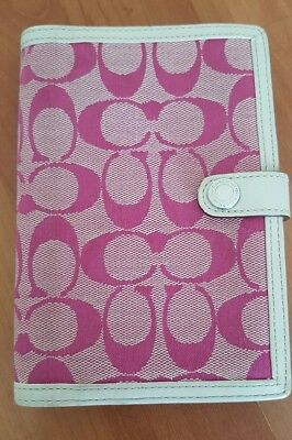 Authentic Coach Organizer Planner Signature Canvas Pink Ivory Leather Lining EUC