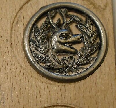 "NICE 1 1/16"" Open Work Deer Sporting Pewter Antique Button 698:15"