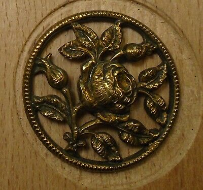 "NICE 1 1/16"" Open Work Rose Brass Antique Button 698:16"