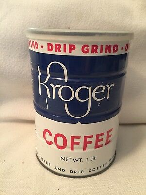Vintage Tin Can Kroger Grocery Store  Drip Grind Coffee with Lid 1 LB.