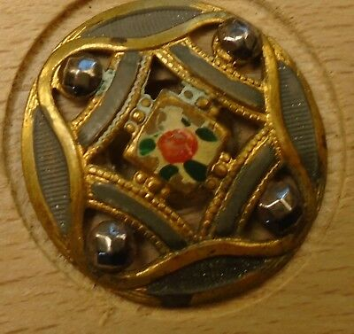"NICE 1"" Open Work Enameled Cut Steel  Brass Antique Button 698:20"