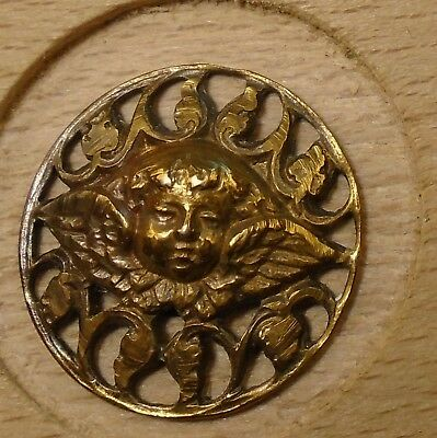 "NICE 11/16"" Open Work Angel Brass Antique Button 698:30"