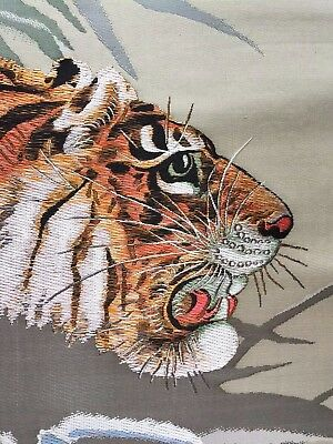 Stunning Silk Wall Hanging - Snow Tiger