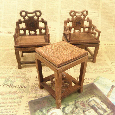 Pretty Wood Miniature Furniture Model Hollow Carved Chairs And Tea Table