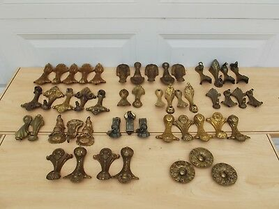 Antique/Vintage Art Deco Cast Iron Light Fixture Parts - 51 Pieces