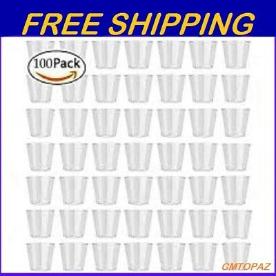 100PCS Clear Plastic Disposable Party Shot Glasses Jelly Dessert Tasting Cups