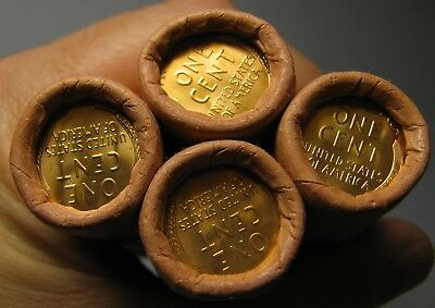 4 ROLLS MYSTERY TAILS/TAILS LINCOLN WHEAT CENT OBW ORIGINAL BANK WRAPPED BU UNCb