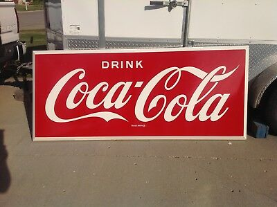 1950's or early 1960's large outdoor 7' Coca Cola metal sign. NOS