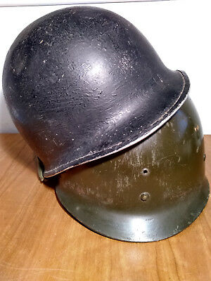 Original WWII US Early M1 McCord Front Seam Swivel Bale Helmet w Liner 3rd Army