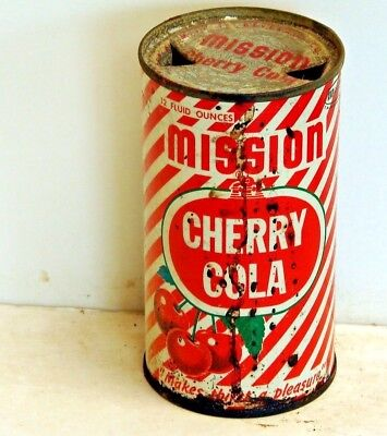 Mission Cherry Cola; Los Angeles, CA; solid top  / flat top soda pop can