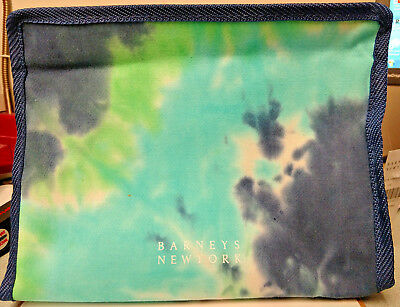8f256d02a9 BARNEYS NEW YORK Exclusive Tie Dye Blue Green Cosmetic Makeup Travel Bag NWT