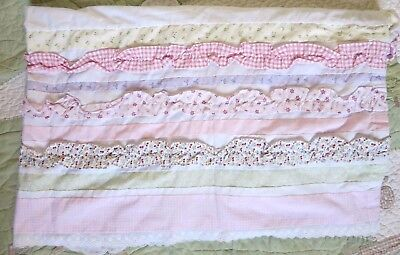 Kidsline Pink Gingham Green Purple Ruffles Flowers Lace Baby Girl Crib Skirt EUC
