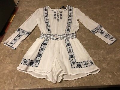 Girl's Size 7 POLO Ralph Lauren Romper - White with blue designs