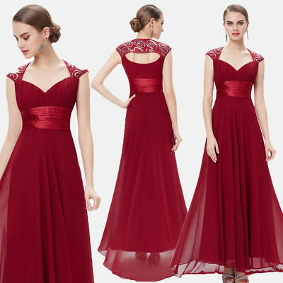 98c8a79e5f3d Ever-pretty US Long Burgundy Bridesmaid Wedding Dresses Cocktail Prom Gown  09672