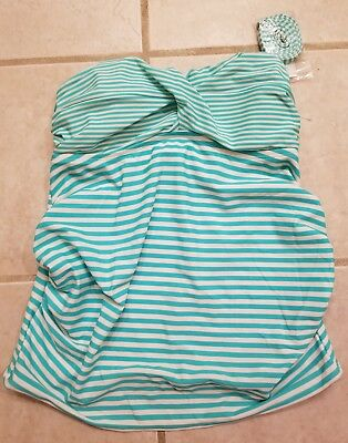 a5037ec746 NWT Liz Lange Maternity Swimsuit Tankini Top Striped Ruched Small S $25