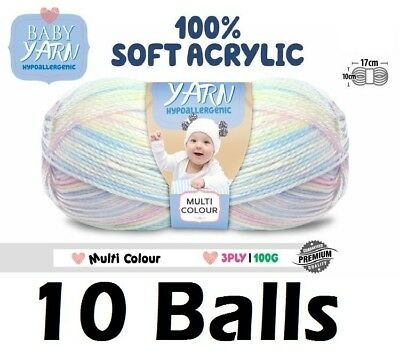 10 x Knitting Baby Yarn Crochet Ball Wool 100g 3Ply Multi Colour Brand New