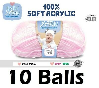 10 x Knitting Baby Yarn Crochet Ball Wool 100g 3Ply Pale Pink Brand New