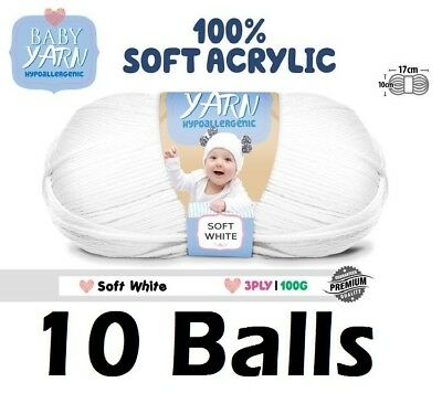10 x Knitting Baby Yarn Crochet Ball Wool 100g 3Ply Soft White Brand New