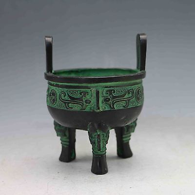 Collectible Chinese Bronze Handwork Carved Antique Pattern Incense Burner