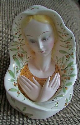 Vintage Italian Madonna Hand Painted Pottery Bust Beautiful Large Porcelain