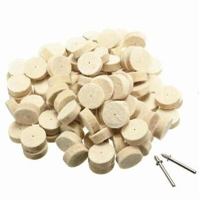 100pcs Wool Felt Polishing Buffing Round Wheel Tool + 2 Shank For  Rotary S8B5