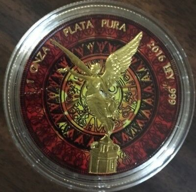 2016 1 Oz Silver Mexican Libertad MAYAN RED CALENDAR Coin WITH GOLD GILDED..