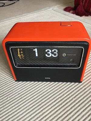 Copal Flip Clock battery Operated Orange Vintage