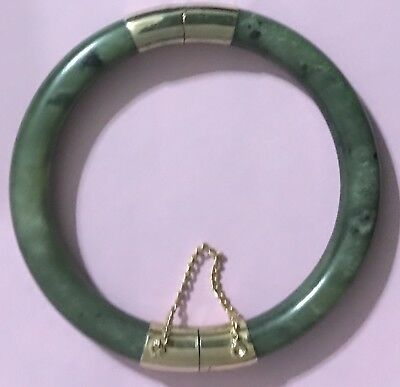 Vintage Jade Hinged Bangle Bracelet Green Natural Stone Gold Tone Safety Chain