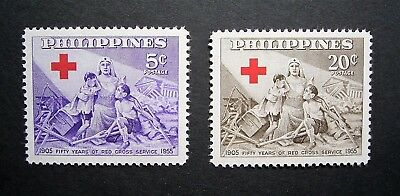 Philippines - 1956 Annisversary Of The Red Cross 2 Mint/Unused Stamps