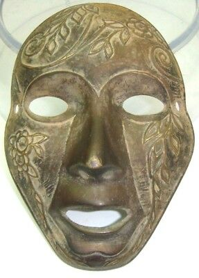 Bronze Cast Sculpture Face Mask Rare Tribal Wall Art Studio Antique Vintage