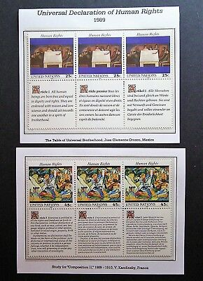 United Nations - 3x25c, 3x45c 1989 Human Rights, Mint Joined Blocks