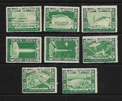 G.B.  1951 FESTIVAL OF BRITAIN - LOT OF 3d GREEN POSTER STAMPS - NO GUM