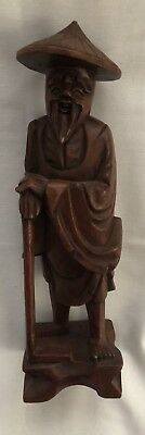Hand Carved Wood Wooden Asian Oriental Chinese Man Figure Statue Figurine