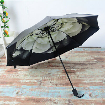 Anti-UV Sun Rain Compact Umbrella Parasols Windproof Flower Floral Folding X1