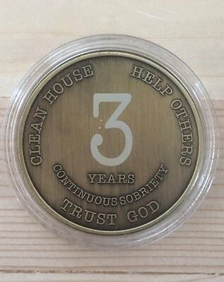 AA 3 Year Chip Bronze Alcoholics Anonymous Coin Bigger Design with Coin Capsule