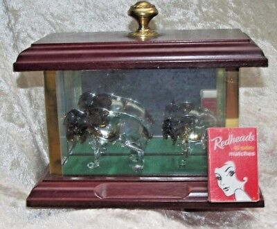 Wearside Glass Sculptures Moose Cow & Calf in Case England Hand Made 18.5CmW