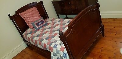 Antquie bed base mattress solid timber turned legs brass king single bed