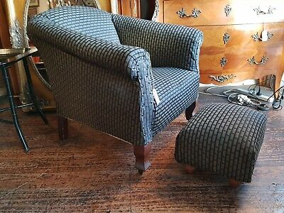 Antique Armchair Tub Chair, and Stool