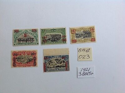 belgium congo, 1921 surcharges, 3 bars+ part set mh x 5 stamps