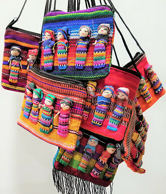 Worry doll zip purse, handmade in Mexico, multi-coloured material