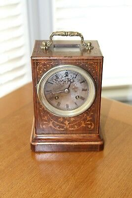 French Rosewood-inlaid Mantel Clock